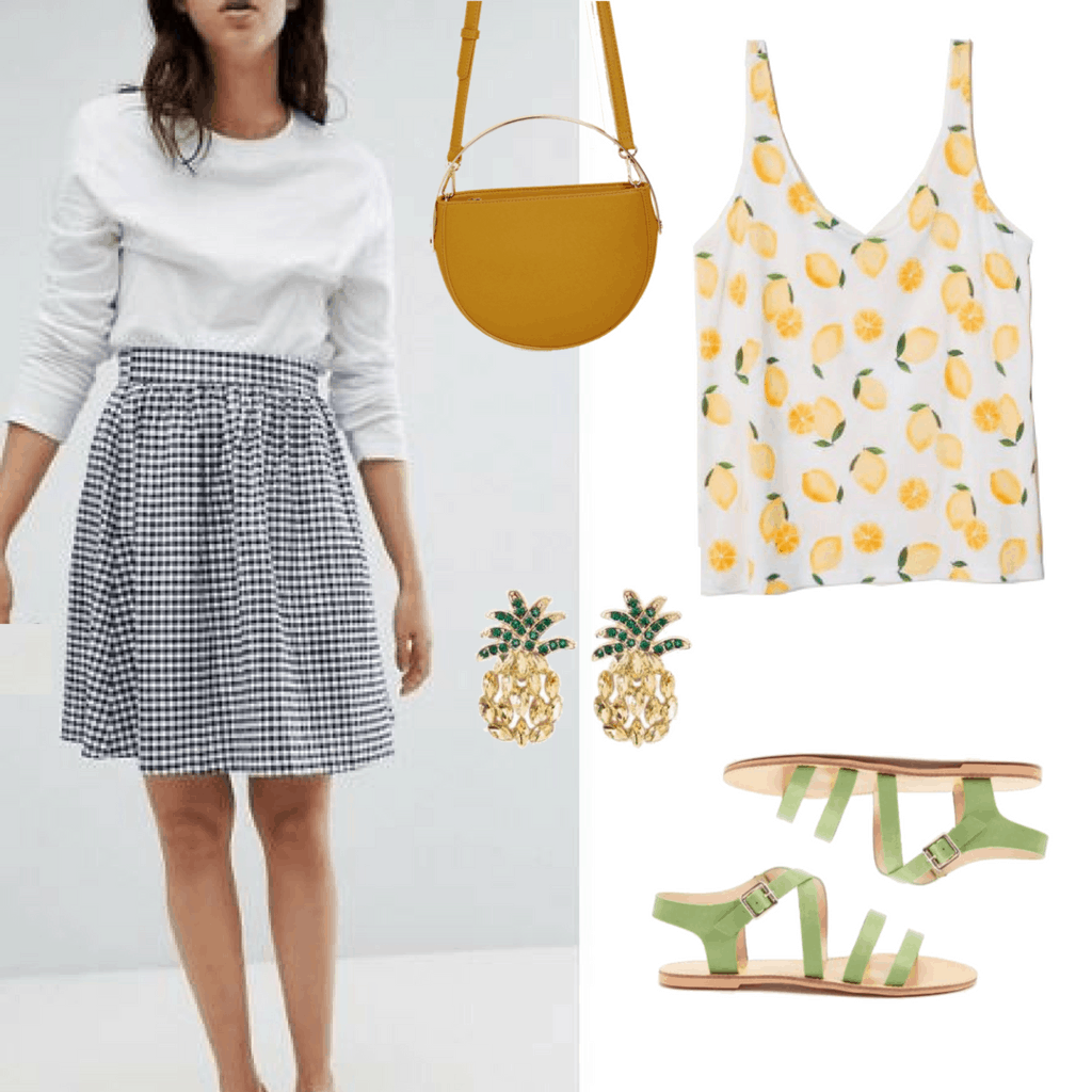 Try this navy gingham A-line skirt and a lemon print tank top. For some extra color, add in green and yellow accessories to accent the yellow lemon and it's green stem. To add some bling, add these adorable pineapple bejeweled earrings as a finishing touch!
