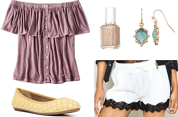 lavender off shoulder top nude nail polish green and gold earrings white scalloped shorts with black lace trim yellow flats