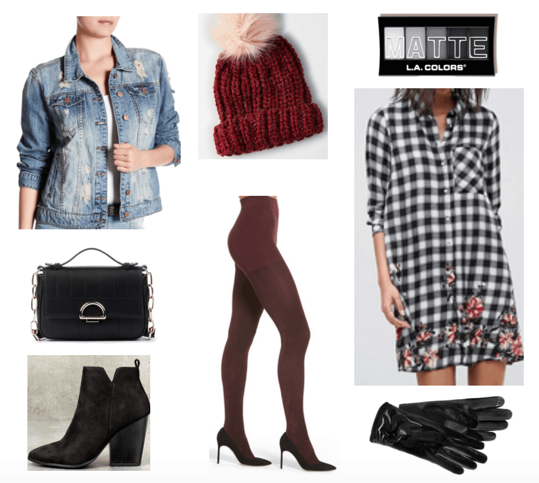 Outfit including burgundy beanie and tights and checkered floral dress.
