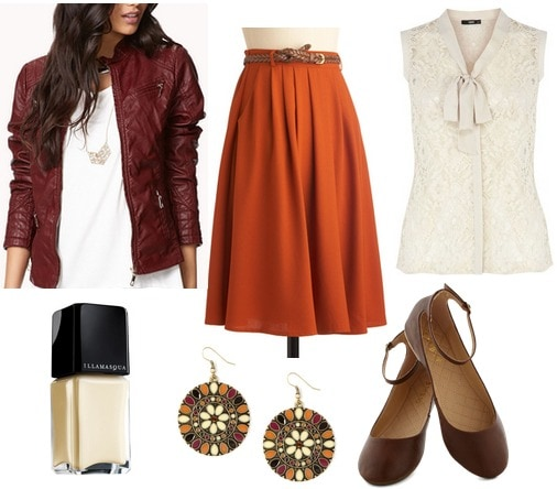 Burgundy jacket, pumpkin skirt, lace blouse