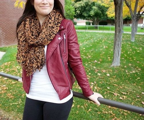 Burgundy leather jacket and leopard print scarf