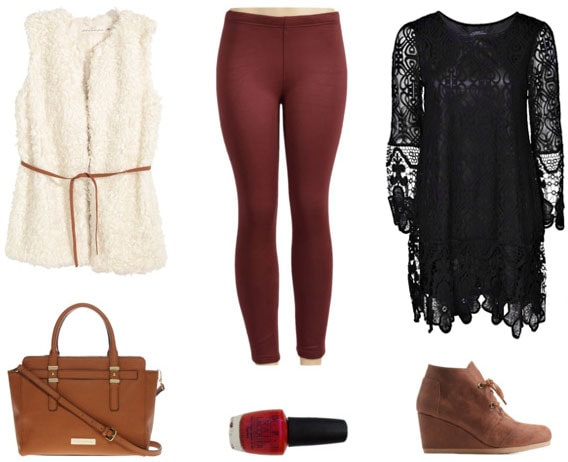 Maroon leggings, lace top, faux fur vest for night out