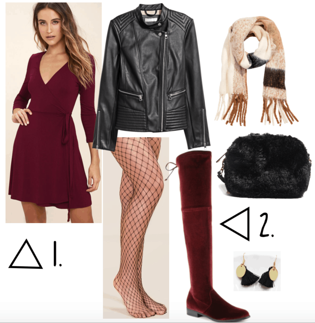 Outfit set including burgundy dress and over the knee boots