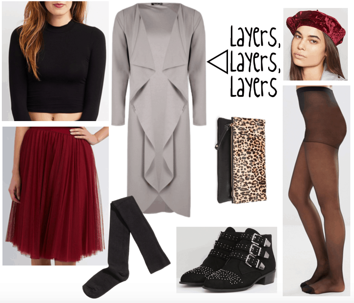 Outfit all about layers including duster, burgundy skirt and beret, tights, socks, booties, etc.