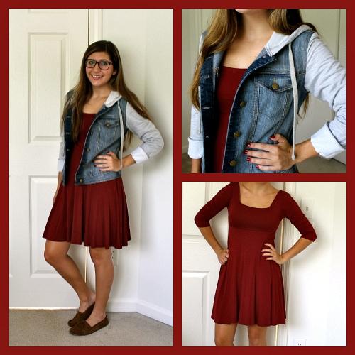 Burnt red dress denim jacket with hood moccasins