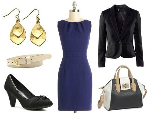Business casual look sheath dress blazer