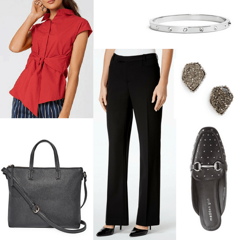 Business casual outfit 1: Black pants, red wrap top, structured tote bag, jeweled bangle, druzy earrings, loafer mules with studs