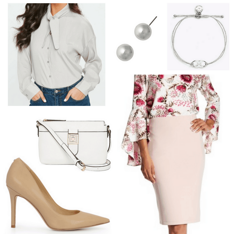 Business casual outfit with rose pink pencil skirt, light gray bow blouse, pearl earrings, Tory Burch bracelet, white crossbody bag, nude pumps
