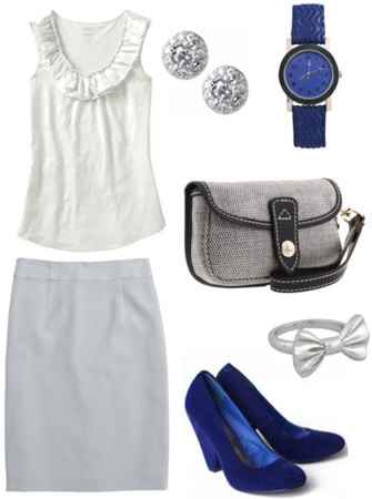 Business casual outfit - Gray skirt, simple white top, basic pumps, handbag
