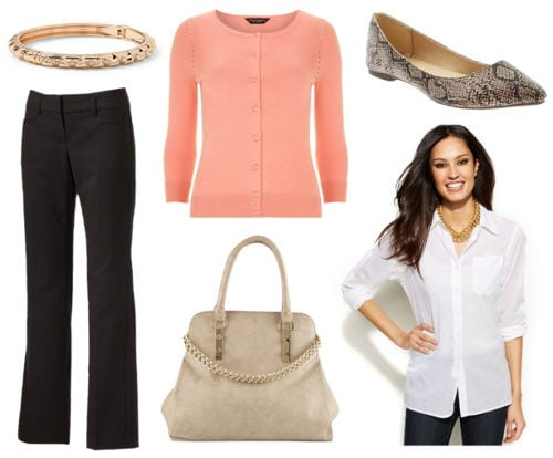 Business casual pants peach cardigan