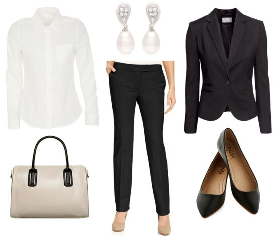 Business formal black pant suit