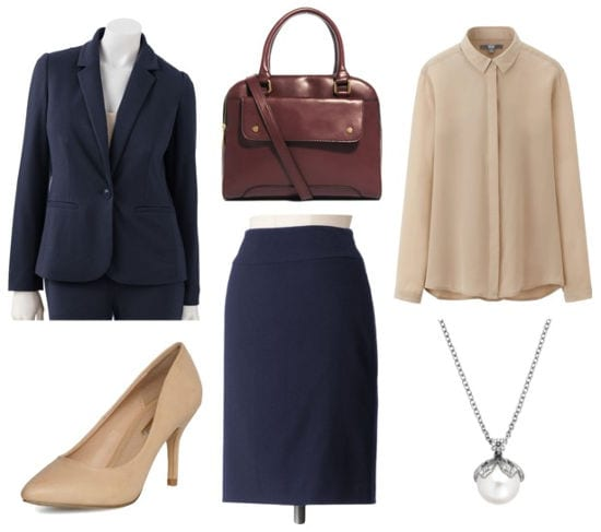 Business formal navy skirt suit
