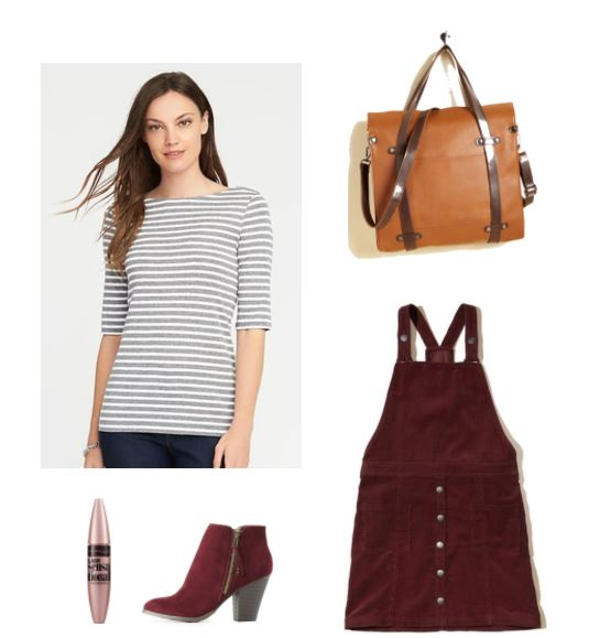 Cute study outfit for a busy day: Striped shirt, burgundy jumper, dark red suede boots, tote bag