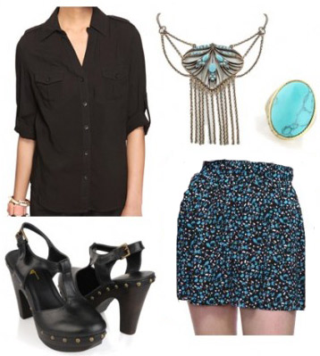 How to wear a black button down shirt with a floral skirt and clogs