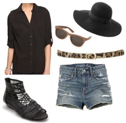 How to wear a black button down shirt with denim shorts and a floppy hat