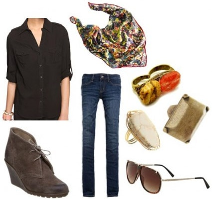 How to wear a black button down shirt with jeans, wedges, and accessories