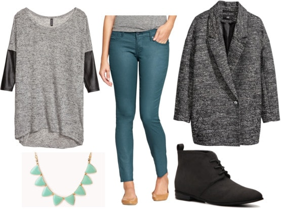 Fab Find: H&M Faux Leather Sleeve Sweater - Teal & Gray