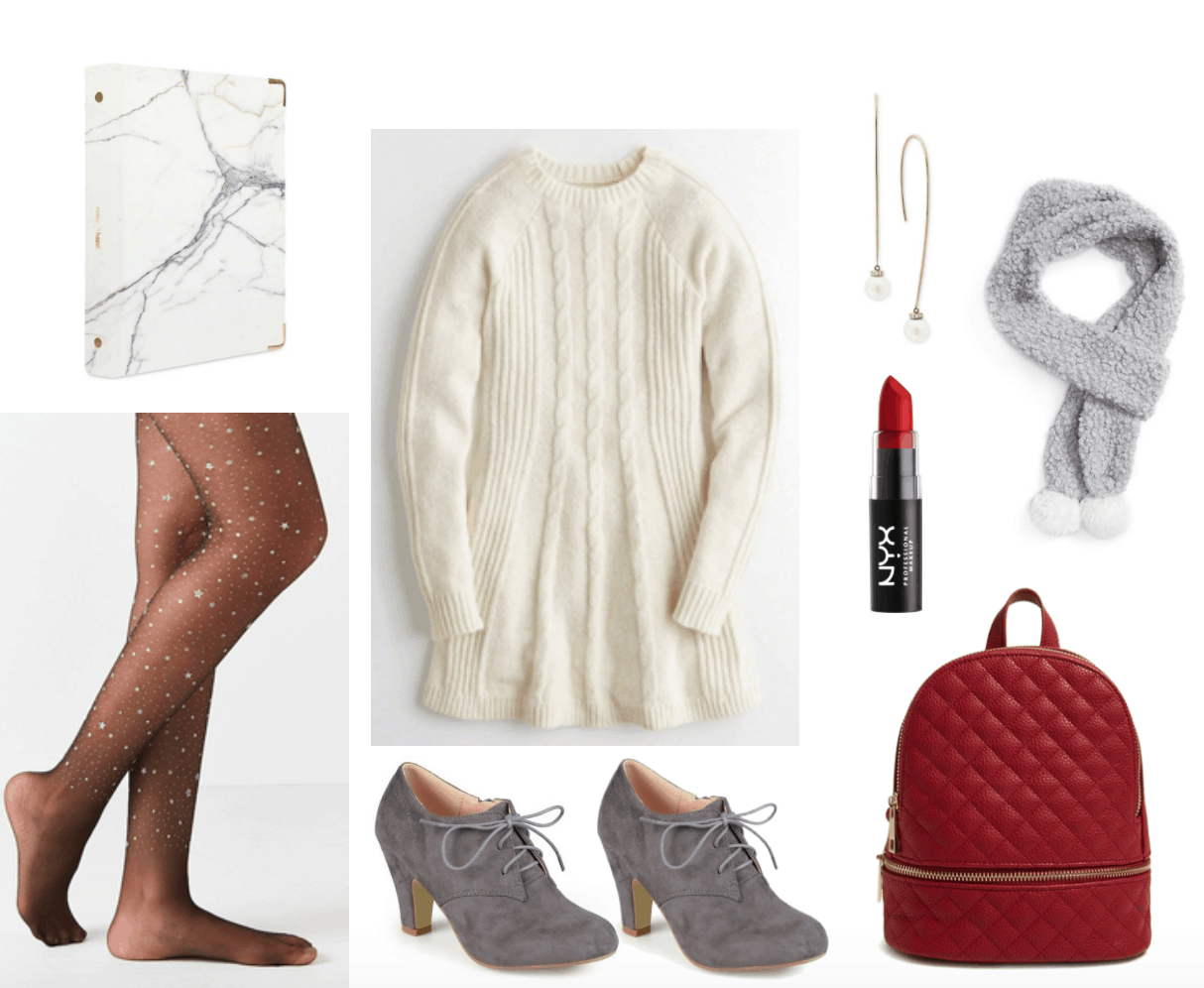 Outfit for studying including cream sweater dress and starry tights.