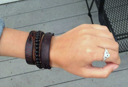 California university of Pennsylvania student wearing a leather cuff and silver ring