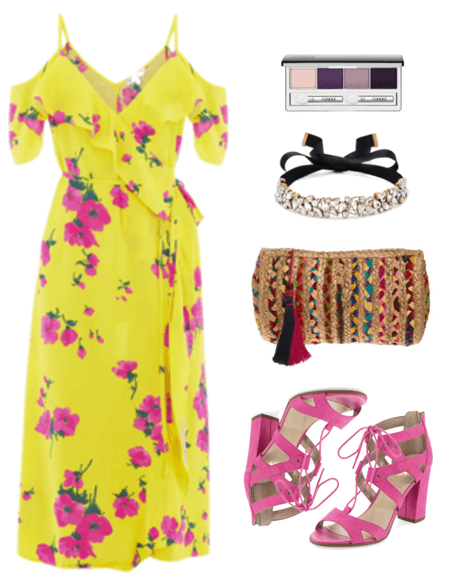 "Fashion Inspired by Music Videos: ""Feels ft. Pharrell Williams, Katy Perry, and Big Sean,"" by Calvin Harris--Outfit #1 featuring bright yellow cold-shoulder midi-length dress with bright pink and green floral pattern, ruffle across the top, and tie waist; Clinique All About Shadow Quad Palette in ""Going Steady,"" a set of purple shades; black ribbon choker with clear stones set in gold metal, woven clutch with multi-colored braided stripes and tassel, bright pink strappy lace-up sandals with chunky heel"