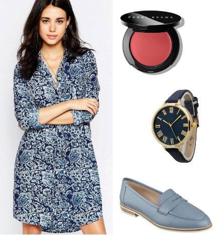 Outfit inspired by Cam from Modern Family: Paisley dress, blush, watch, blue loafers