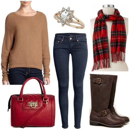 Camel sweater, jeans, boots, crimson scarf and handbag