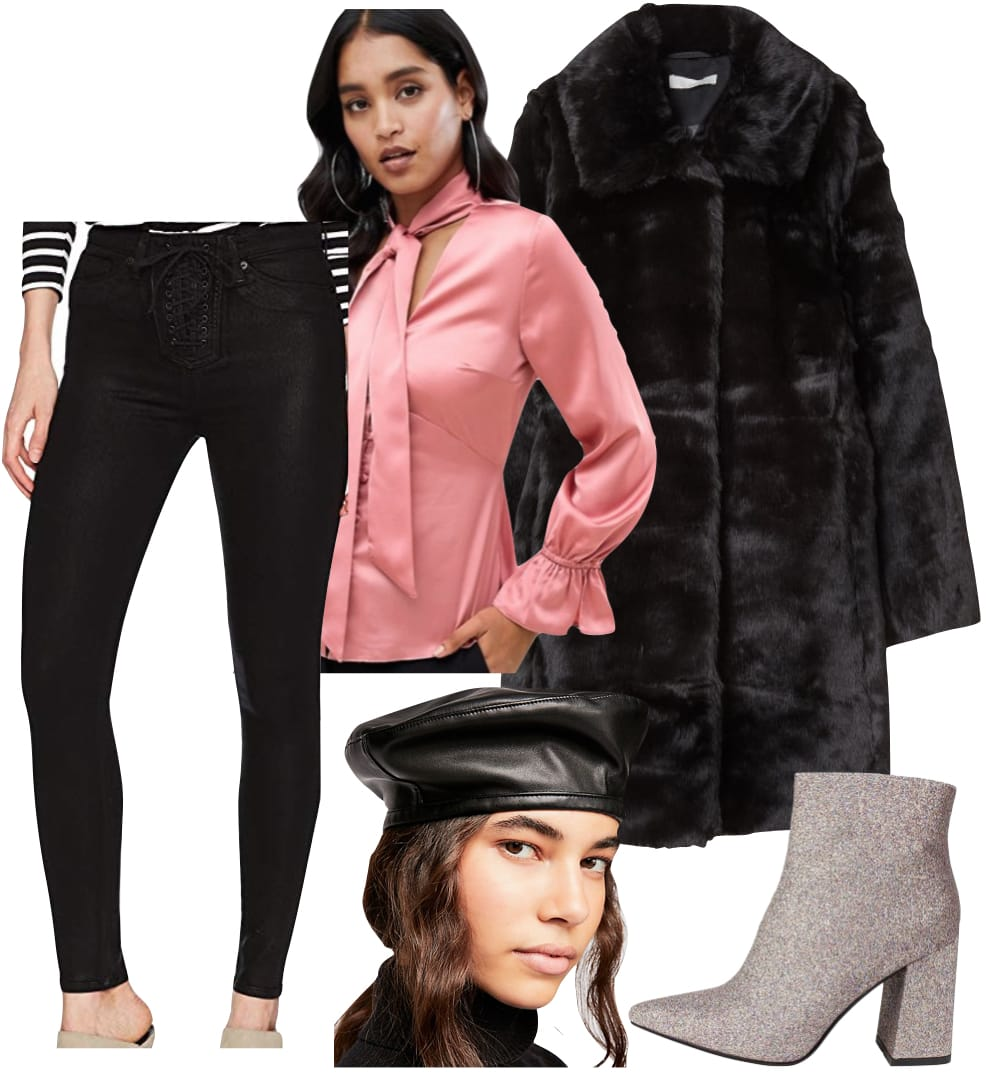 Camila Cabello Outfit: black coated lace-up skinny jeans, pink satin button up blouse with neck tie, black faux fur coat, black vegan leather beret hat, and pink glitter ankle booties