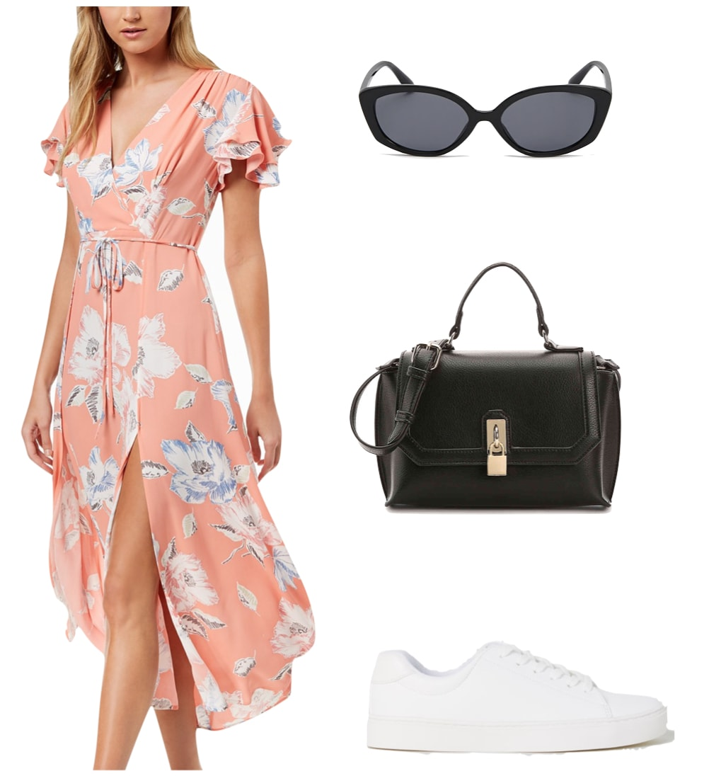 Camila Mendes Outfit: pink floral print midi wrap dress, squared oval sunglasses, black mini top handle satchel bag, and white low top sneakers