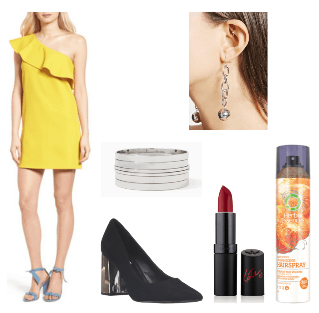 Camila Cabello Havana outfit 1: Yellow dress, black heels, bangle bracelet, lipstick, hairspray, earrings