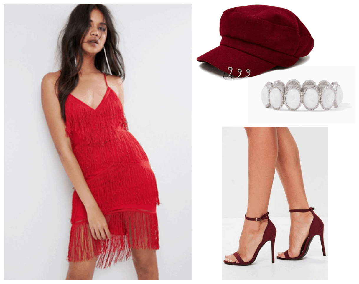 Camila Cabello Havana outfit 2: Red fringe dress, dark red cap, burgundy strappy heels, bracelet