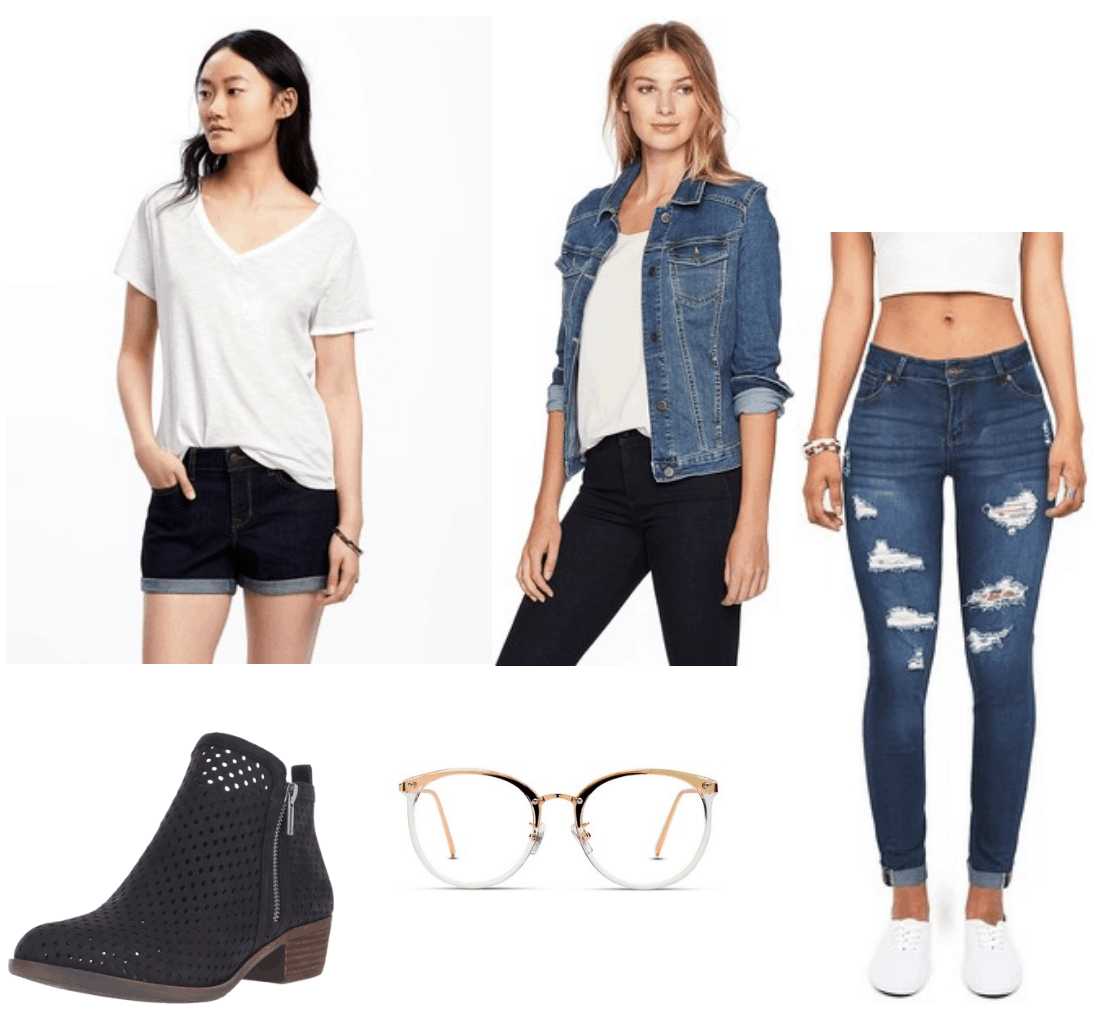 Camila Cabello Havana Outfit 3: Ripped jeans, white tee shirt, denim jacket, ankle boots, clear glasses