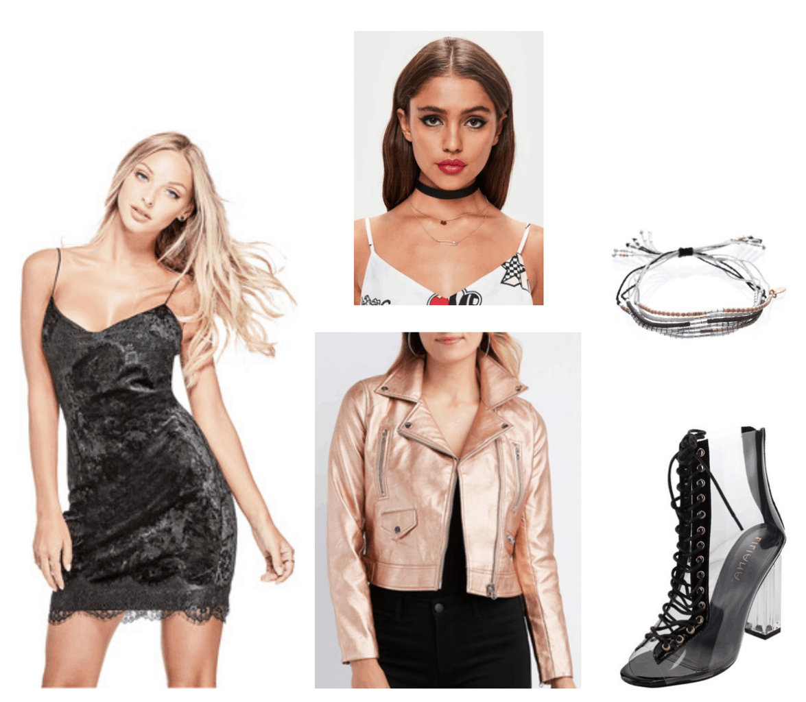 Camila Cabello Havana outfit 4: Black velvet and lace dress, pink rose gold metallic bomber jacket, lace-up clear heels, wrap bracelets, black choker