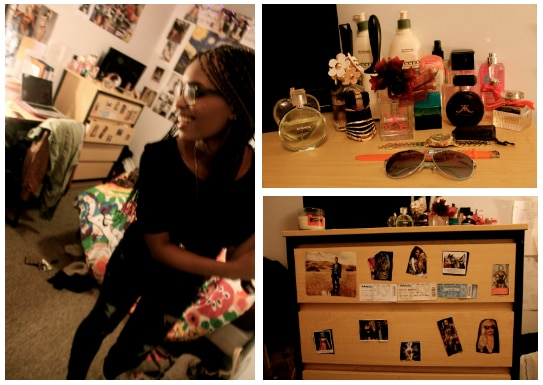 Camile's dorm room: Camille in her room, collection of perfumes, decorated dresser