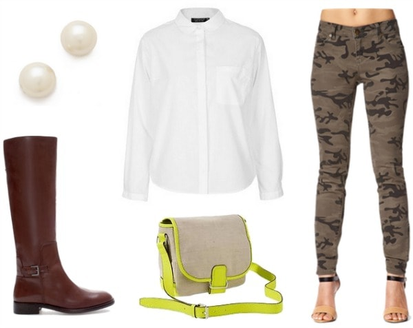 Camo pants, white blouse, riding boots, pearl studs, neon trim bag