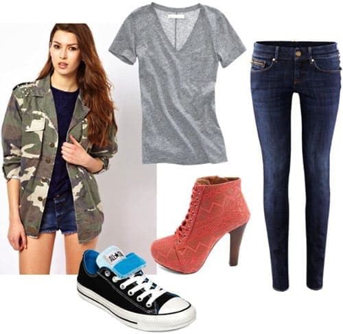 How to style a camo print jacket - skinnies, tee, litas or sneakers