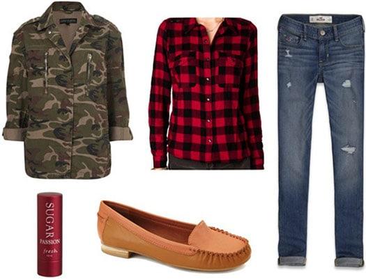 How to wear a camo print jacket - skinnies, plaid shirt, loafers