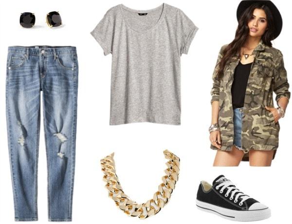 Camo jacket, boyfriend jeans, gray tee, converse