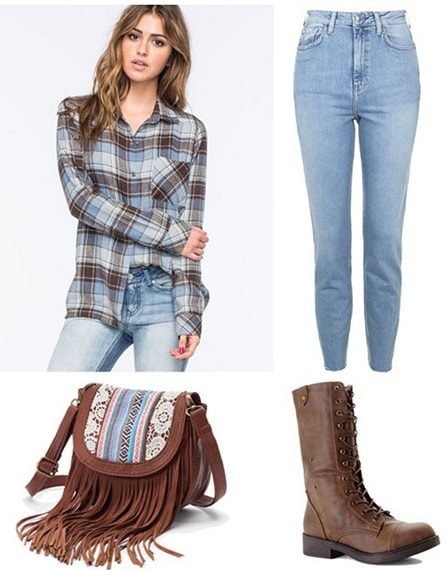 Campus office assistant outfit 1: Jeans, flannel shirt, cross-body bag, boots