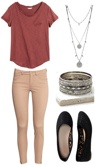 Campus office assistant outfit 2: Skinny khakis, flats, jewelry, tee