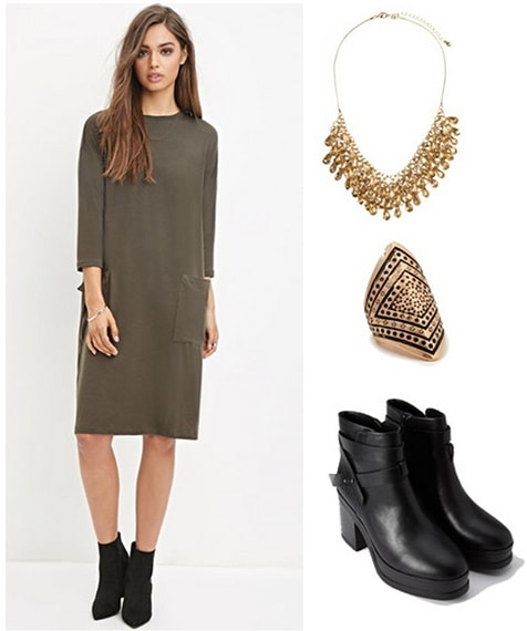 Campus office assistant outfit 3 - T-shirt dress, boots, jewelry