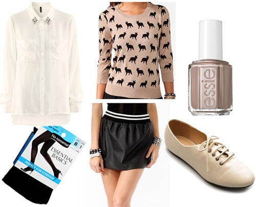 College outfit under 0 total: Faux leather skirt, button-down shirt, fox print sweater, oxfords, black tights, nail polish