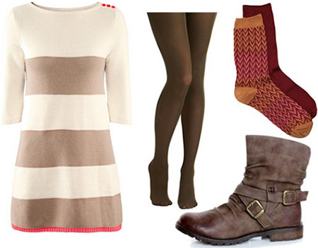 College outfit under 0 total: Sweater dress, tights, ankle booties, socks