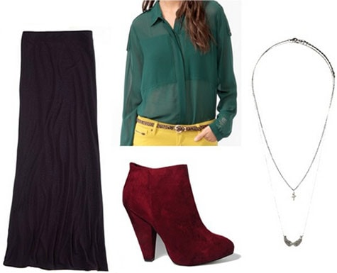 College campus outfit under $100: Maxi skirt, button-down blouse, oxblood ankle booties, statement necklace