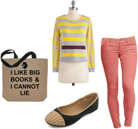 College campus outfit under $100 total: Coral skinny jeans, striped sweater, studded flats, tote bag