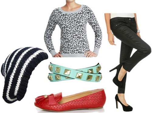 College outfit under $100 total: Leopard print sweater, coated skinny jeans, beanie, studded bracelet, loafers