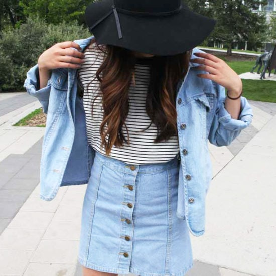 "The ""Canadian Tuxedo"" look on campus at St Mary's University - denim jacket and denim skirt"