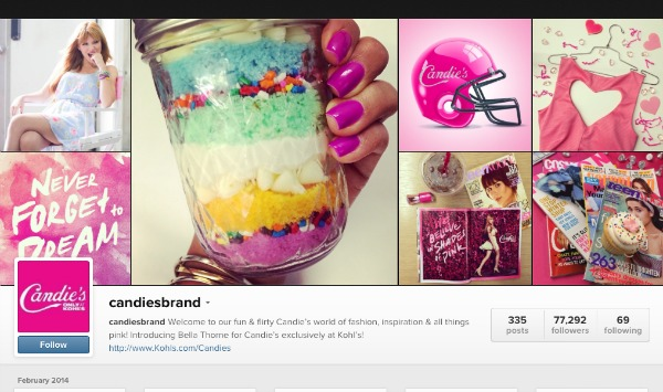Candie's instagram account