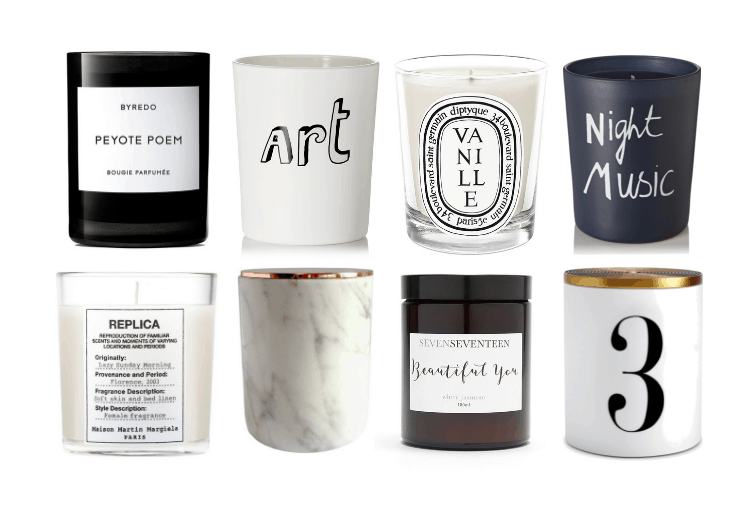 Luxe candles: Peyote Poem, Art candle, Vanille, Night Music, Replica candle, marble candle, Beautiful You candle, 3 candle