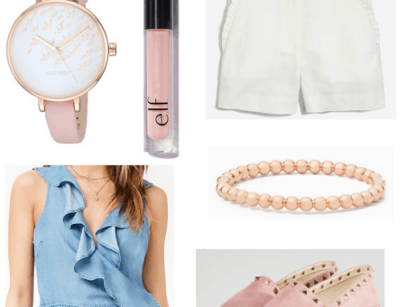 White shorts, demin top, pink watch lip gloss, espadrilles and bracelet.