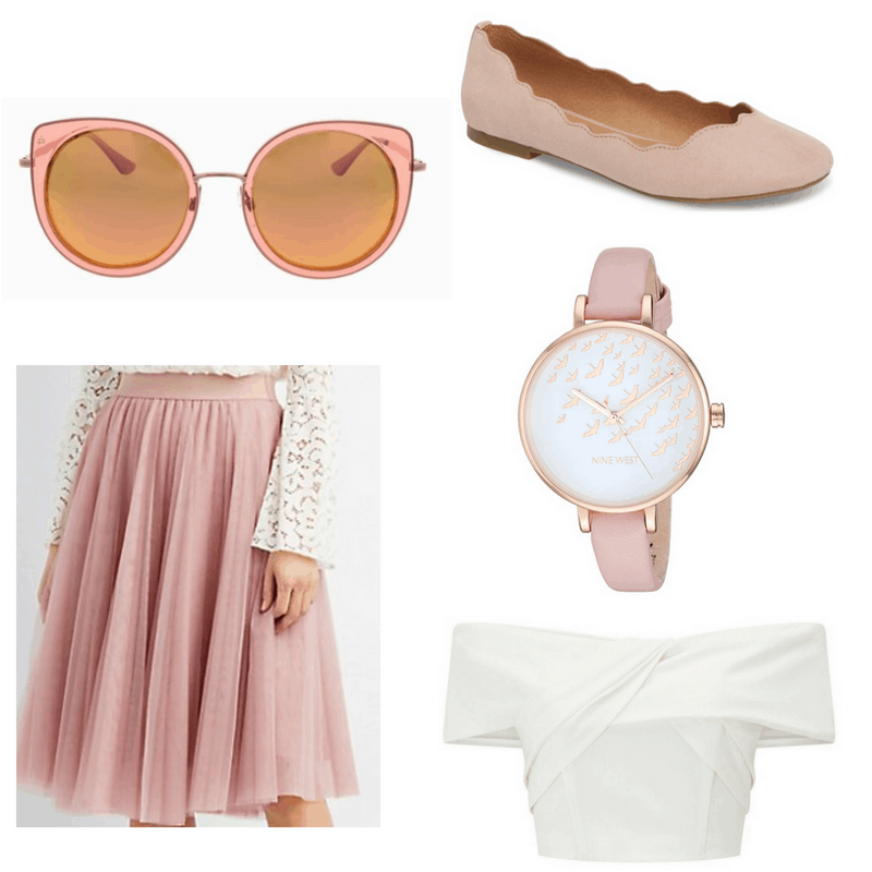 White top, pink tulle skirt, watch, sunglasses and ballet flats.